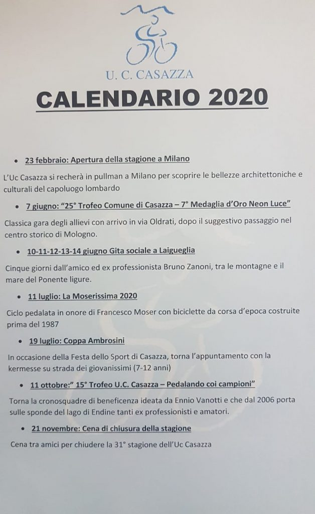 Calendario 2020 UC Casazza